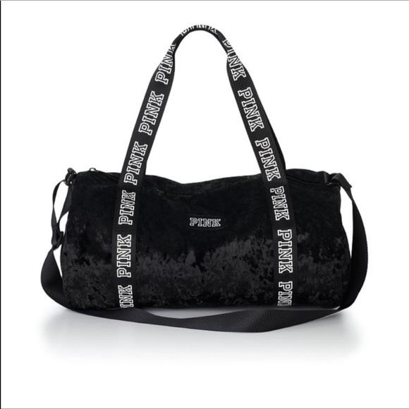PINK Victoria s Secret Bags   Pink Vs Black Velvet Logo Duffle Bag ... a3075ab916